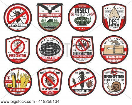 Pest Control Icons, Disinfection, Extermination And Deratization Service, Vector Signs. Insects And
