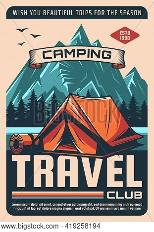 Camping Travel, Outdoor Recreation Club Tour Retro Vector Poster. Hiking And Trekking In Mountains,