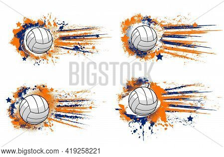 Volleyball Ball Banners, Sport Tournament And Championship Vector Halftone Backgrounds. Volleyball B