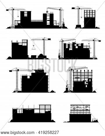 Construction Site Black Silhouettes With Vector Buildings And Builder Equipment. Infrastructure, Ind