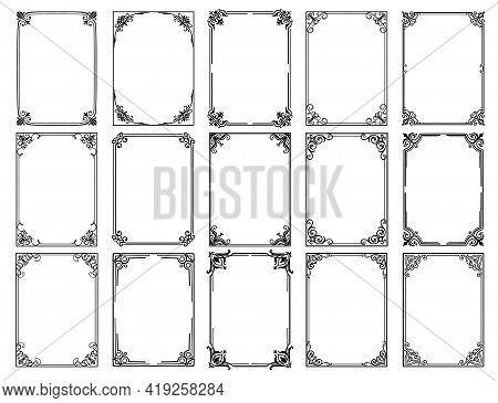 Vintage Floral Frames With Vector Borders Of Black Flower Ornaments. Filigree Frames With Corners Of