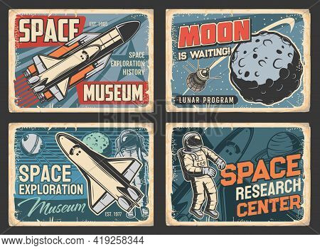 Space Exploration Museum, Galaxy Research Center Plates, Lunar Program Grunge Vector Signs. Shuttle