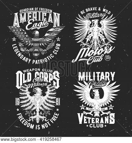 Tshirt Prints With Eagle, Vector Mascot For Patriotic Military Club Apparel Design. T Shirt Prints W
