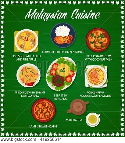 Malaysian Food And Asian Cuisine Menu Dishes, Vector Lunch And Dinner Meals. Malaysian Cuisine Tradi