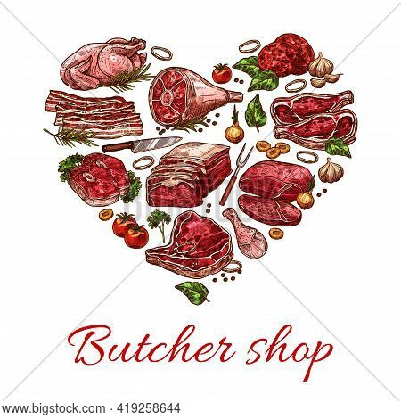 Meat, Butcher Shop Heart Banner With Beef, Pork And Lamb Food, Vector Poster. Butchery Farm Market M