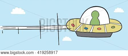 Cartoon Vector Illustration Of Ufo Flying In The Sky. Colored And Black Outlines.