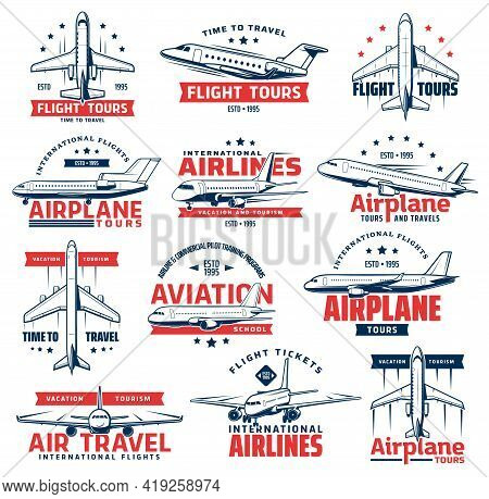 Aviation Airplane Vector Icons Of Air Travel Design. Passenger Airline Plane, Jet Airliner Or Jetlin
