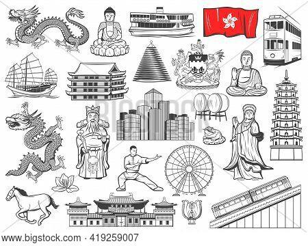 Hong Kong Landmarks, Touristic Attractions And Religion Vector Icons. Hong Kong City Flag, Coat Of A