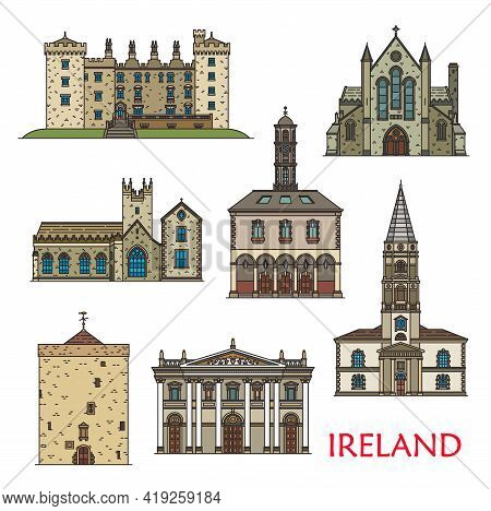 Ireland Architecture Landmarks, Travel Sightseeing Buildings, Vector. St Canice Cathedral, Black Abb