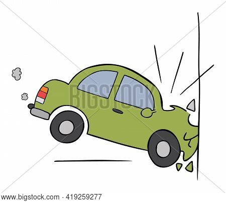 Cartoon Vector Illustration Of Car Accident, Crashing Into The Wall. Colored And Black Outlines.