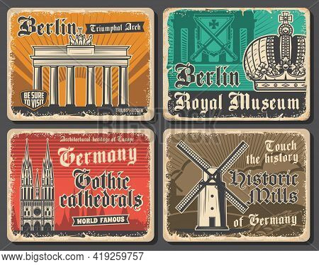 Germany Travel Landmarks, German Culture And Tourism Vector Design. Buildings Of Berlin, Triumphal A