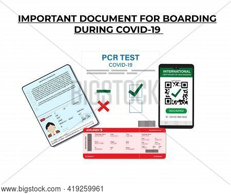 A Vector Of Passport, Pcr Test Covid-19 And, Boarding Pass, Smartphone With Digital International Ce