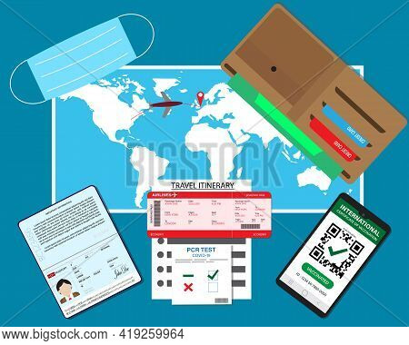A Vector Of Passport, Pcr Test Covid-19, Smartphone With Digital International Certificate Of Vaccin
