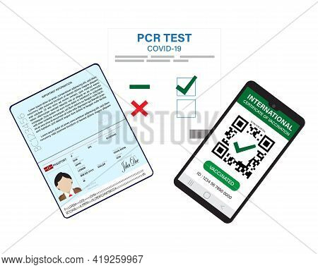A Vector Of Passport, Pcr Test Covid-19 And Smartphone With Digital International Certificate Of Vac
