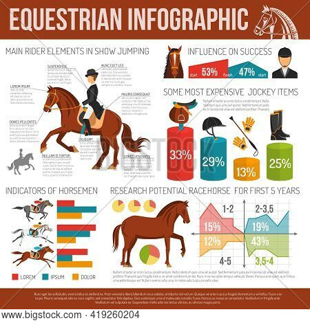 Infographic Equestrian Sport With Jockey Items  And Research Potential  Racehorse Flat  Vector Illus