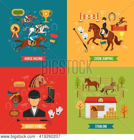 Horse Riding Design Concept Set With Jockey Items Race And Stabling Flat  Vector Illustration