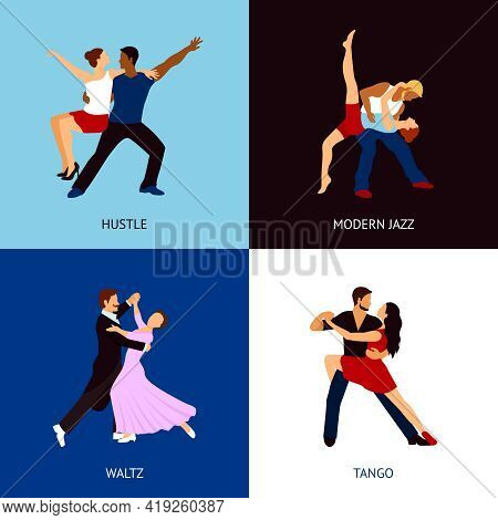 Dancing People Design Concept Set With Hustle Modern Jazz Waltz And Tango Styles Flat Icons Isolated