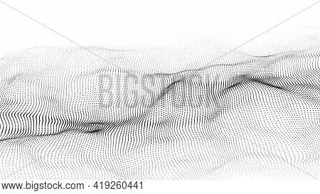 Dynamic Wave On White Background. Wave Of Particles. Futuristic Point Wave. Design For Poster. Techn