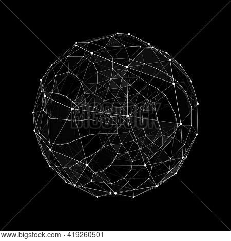 Abstract 3d Sphere. Hud Design Sphere. Network Line Concept. Futuristic Technology Style. Vector Fut