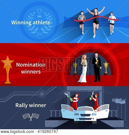 Sports And Nomination Winners Horizontal Banners Set With Rally And Athletes Flat Isolated Vector Il