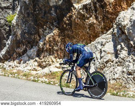 Col Du Serre De Tourre,france - July 15,2016: The Spanish Cyclist Jon Izaguirre Insausti Of Movistar