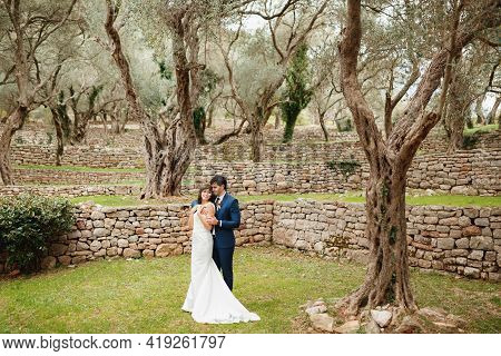 Groom Hugs Bride In A White Wedding Dress Against The Backdrop Of A Beautiful Multi-tiered Garden Wi