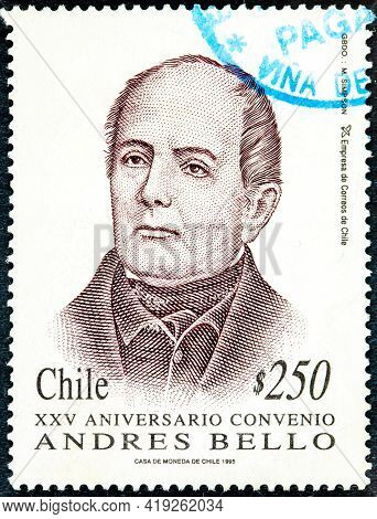 Chile - Circa 1995 : Canceled Postage Stamp Printed By Chile, Shows The Face Of Andres Bello On The