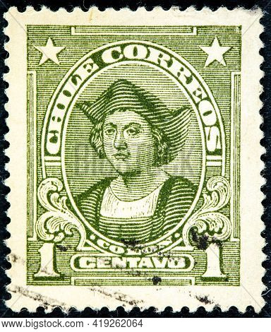 Chile - Circa 1918: A Stamp Printed In The Chile Shows Christopher Columbus, Cristobal Colon, Explor