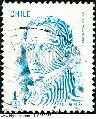 Chile - Circa 1975: A Stamp Printed In The Chile Shows Diego Portales, Statesman, Finance Minister,