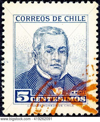 Chile - Circa 1980: A Stamp Printed In Chile Shows Image Portrait Pedro Elias Pablo Montt Montt (san