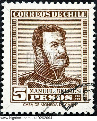Chile - Circa 1956: A Stamp Printed In The Chile Shows Manuel Bulnes Prieto, 5th President Of Chile,
