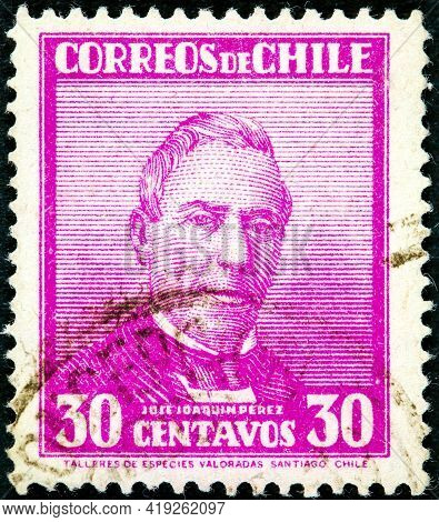 Chile - Circa 1934: A Stamp Printed In The Chile Shows Jose Joaquin Perez Mascayano, President Of Ch