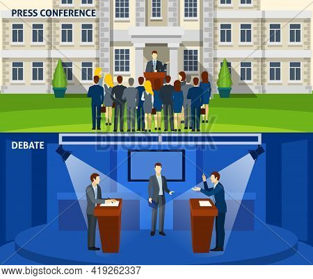 Political  Party Leader Press Conference And  Presidential Election Debate 2 Flat Banners Set Abstra