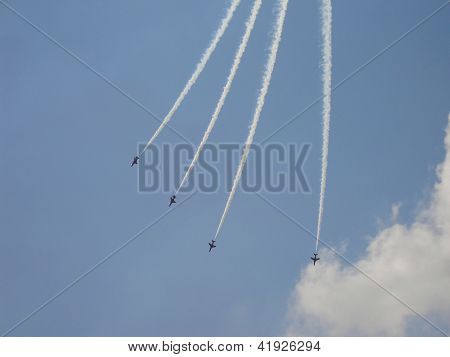 Hawk T1 In Sky With Smoke Traces