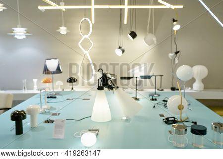 Blurred Arrangement Of Hanging Lighting Fixtures, Warm And Vintage Interior Light, Modern Home Decor