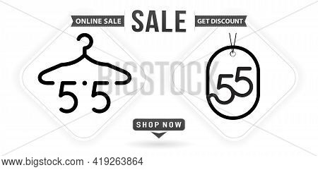 Hanger And Tag 5.5 Sale, 5.5 Online Sale, Number Sale Monochrome With Isolated White Backgrounds For