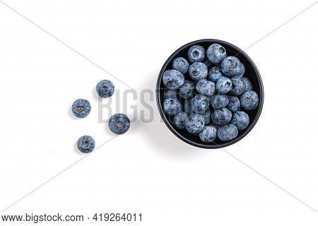 Blueberry. Fresh Blueberries Isolated In Bowl On White Background. Top View. Blue Berry For Healthy