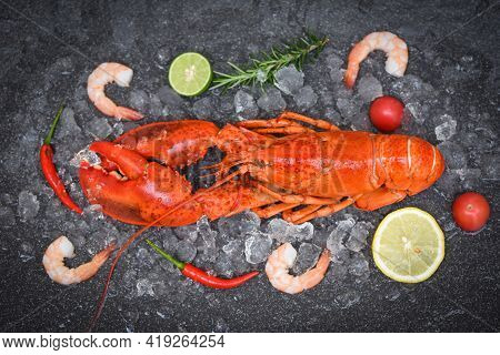 Fresh Lobster Food On Dark Background, Red Lobster Dinner Seafood With Shrimp Herb And Spices
