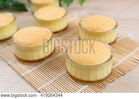 Caramel Custard Pudding Cake In Glass Bowl