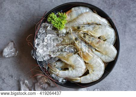 Raw Shrimps Prawns On Ice In Bowl, Fresh Shrimp Seafood With Herbs And Spice