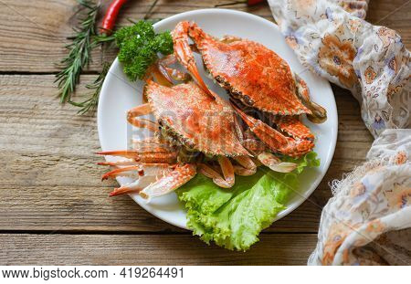 Fresh Seafood Crab On White Plate Cooking Food In The Restaurant, Steamed Or Boiled Blue Swimming Cr