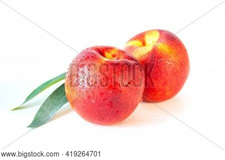 Peach Or Nectarine And Peach Slice With Leaf On White Background. Fruit Background
