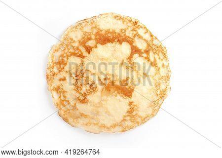 Thin Pancake Isolated On White Background. Thin Pancakes With Crispy Crust. Maslenitsa. Pancakes For