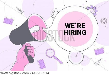 Hr Manager Hand Holding Loudspeaker We Are Hiring Join Us Speech Vacancy Open Need A Job Recruitment