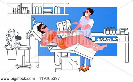 Therapist In Mask Massaging Woman Patient On Massage Table Physical Therapy Rehabilitation Concept