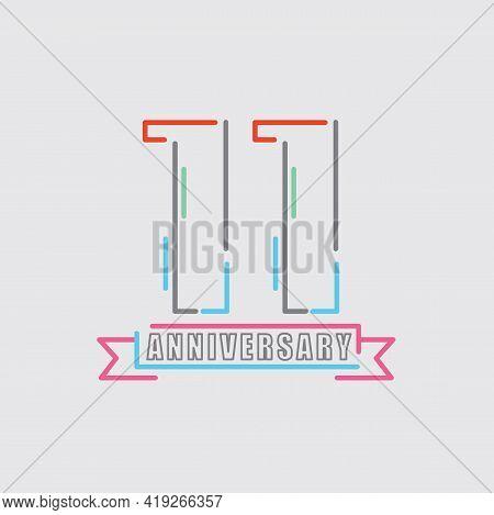 11th Years Anniversary Logo Birthday Celebration Abstract Design Vector Illustration. Eps 10