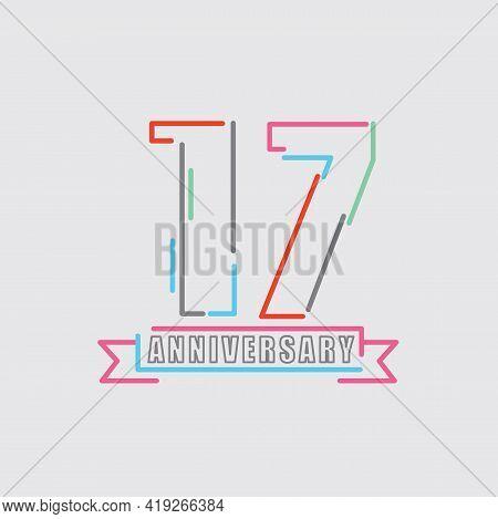 17th Years Anniversary Logo Birthday Celebration Abstract Design Vector Illustration. Eps 10