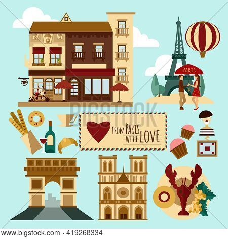 Paris Touristic Set With Landmarks And France Symbols Vector Illustration