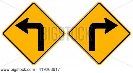 Turn Left And Turn Right Traffic Road Sign,vector Illustration, Isolate On White Background Symbols,