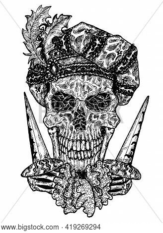 Black And White Illustration Of Scary Skull Portrait Wearing Medieval Cap And Holding Dagger Knives